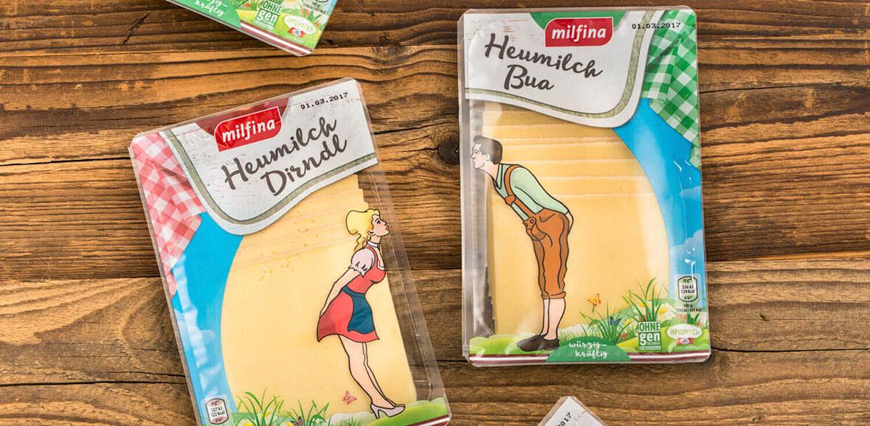 Heumilch Dirndl und Bua Käse Verpackung Neugestaltung Packaging 01