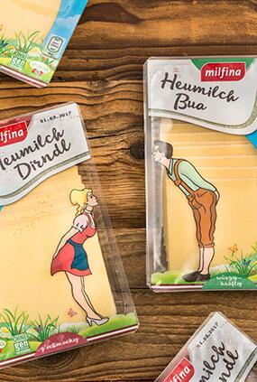 Heumilch Dirndl und Bua Käse Verpackung Neugestaltung Packaging Thumbnail