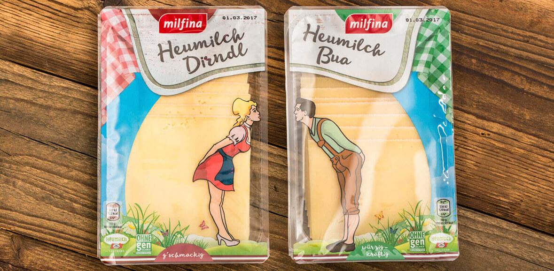 Heumilch Dirndl und Bua Käse Verpackung Neugestaltung Packaging 03