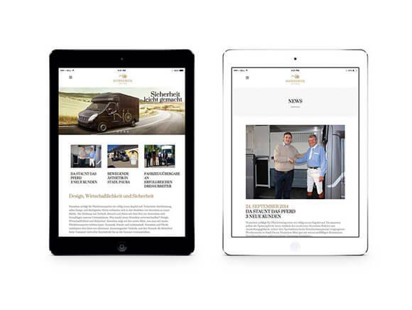 Horsebox iPad Neugestaltung Web Homepage