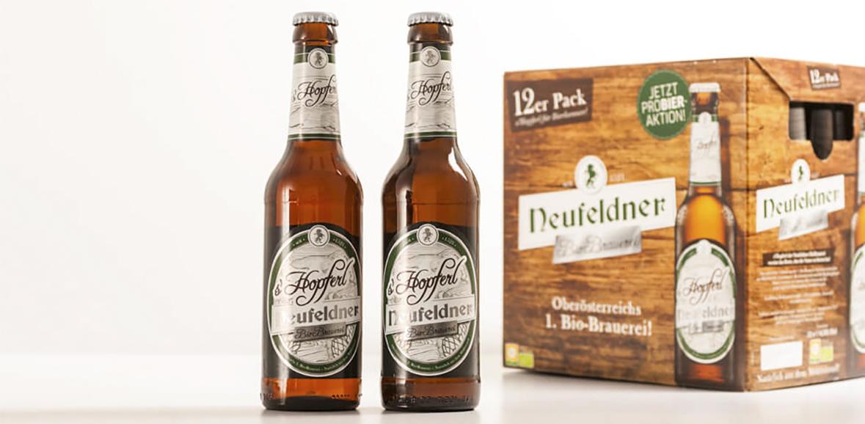 Verpackungsdesign Etikette Neufeldner BioBrauerei