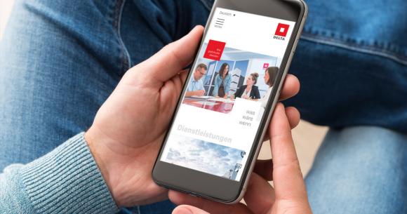 Delta Webseite am Smartphone